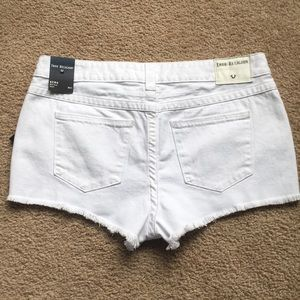 True Religion Shorts - White True Religion Mid Rise Cut Off Shorts